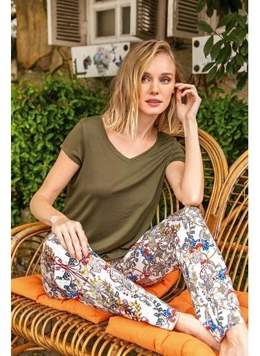 Anıl Çiçekli Sırt Detaylı Kısa Kollu Pijama Takım Haki